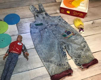 12 months acid wash buster brown 80s overalls