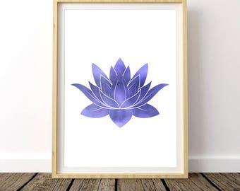 Yoga Bedroom Art, Yoga Gift Print, Lotus Poster, Lotus Printable, Gift Ideas for Mom, Yoga Studio Decor, Yoga Studio Print, Gift for Her