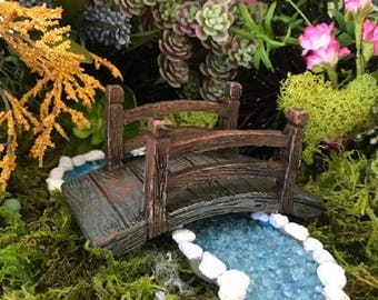 Miniature Blue and Brown Arched Bridge