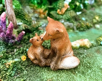 Miniature Mama Fox with Baby Fox