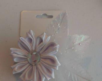 White Flower hair bow