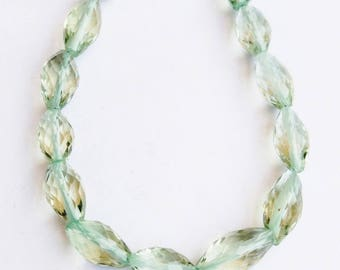 "1 Strand Natural Green Amethyst 10-11mm  Faceted  oval shape  Gemstone Beads 8"" long strand By SHAMSHAD GEMS"