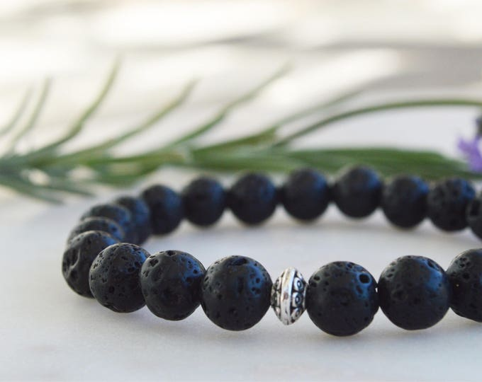 Black lava stone bracelet, Gift for dad, Mens beaded bracelet, Earth jewelry, Mens jewelry, Lava stone jewelry, Boho bracelet, Root chakra