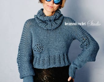 """Sale! PDF Knitting PATTERN for beginners - """"Warm trio"""" (sweater, cowl, mittens) Size: S-M. Made with straight needles. Written in US terms"""