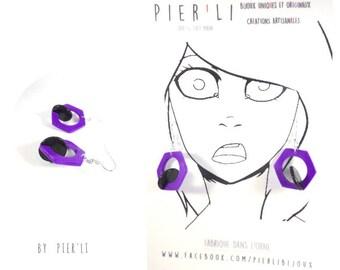 Boucles d'oreilles violet et noir