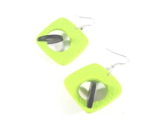 Lime green and black earrings 3D