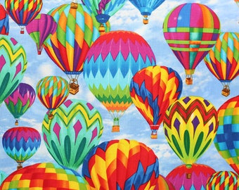 Hot air balloon, pattern fabric by Michael Searle for Timeless Treasures.