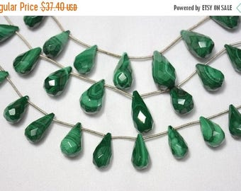 ON SALE 50% Malachite Faceted Tear Drops Beads, Malachite Drops Shape Gemstone, 9x15mm - 11x18mm Approx,4 Inch Strand