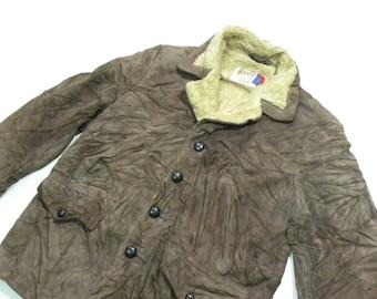 Schott Western Suede Leather Sherpa Jacket Shearling