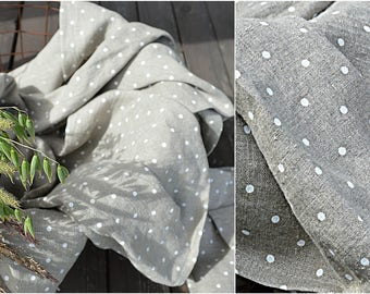 Linen towel with polka dots - Very soft towel - Natural linen towel - Simple rustic hand/face/tea towels - Softened 100% linen  towels