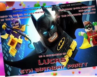 Batman & Robin Lego - Personalised Children's Party Invitations -  Pack of 10