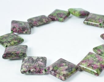 19mm Ruby-Zoisite Square Stone Beads, Sold by 1 strand Size, Wholesale Beads, Wholesale Gemstones,