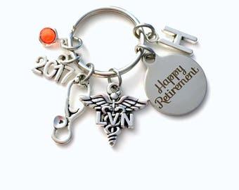Retirement Gift for LVN Keychain, 2017 Licensed Vocational Nurse Key Chain, Stethoscope Keyring for her men letter initial him Nursing women