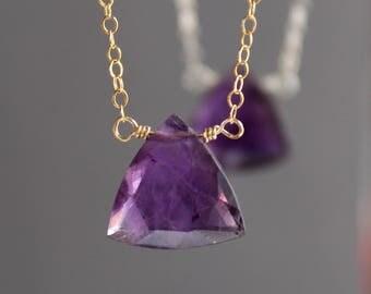 Amethyst Necklace, Amethyst Choker, February Birthstone, Triangle Shaped Amethyst Necklace, Gemstone Necklace, Pendant Necklace