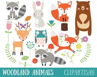 Woodland Animal Clipart | Fox | Bear | Raccoon | Deer | Owl | Nursery Art
