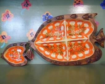 Treasure Craft Fish Ocean Platter Appetizer Snack Chip Dip Set Bowl Beach Tiki Tropical Kitchen Serving Mid Century Modern Retro Vintage