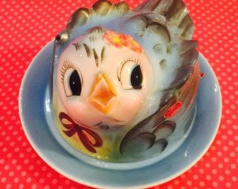 Lefton Anthropomorphic Bluebird Butter Dish Jar made in Japan circa 1958