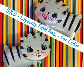 SOLD - Layaway Final Payment - for Cedar - Enesco Anthropomorphic Flat Faced Blue Striped Kitten Salt and Pepper made in Japan circa 1950sa