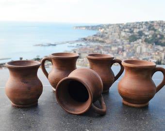 Tazzine caffè, tazzina caffè, tazzina rustica, tazzina terracotta, tazzina etno, tazzine da caffè, espresso cups, clay mug, rustic mugs, cup