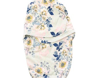Rory's Soft Blue Floral Swaddle Wrap | Navy & Soft Blue Vintage Floral Baby Swaddle