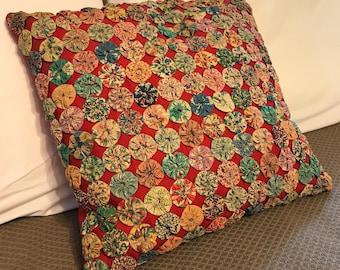 Vintage feed sack YoYo decorative pillow