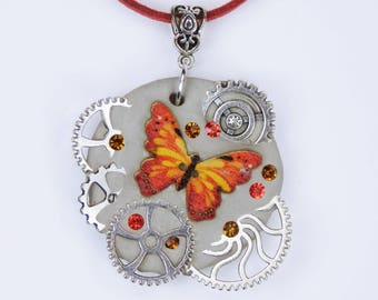 Necklace butterfly Glamour steampunk in red yellow concrete jewelry on red leather strap unique concrete gears gear Concrete jewelry fire