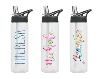 Custom Water Bottle-Lily Inspired Patterned- 24oz Bottles Personalized