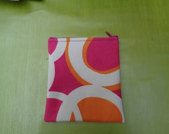 Pink White Swirl Top Zip Small  Poppins Waterproof Lined Zip Pouch - Sandwich bag - Eco - Snack Bag - Bikini Bag - Lunch Bag - Make Up Bag