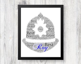 Personalised POLICE RETIREMENT Word Art Print Gift Keepsake Birthday Christmas Dad Grandad Son Uncle Retirement Present Police Enrolement
