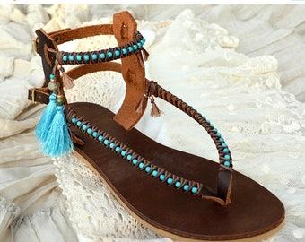 SALE Sandals, Leather Sandals, Women Sandals, Women Shoes, Boho Shoes, Boho Sandals, Gladiator Sandals, Beaded Sandals, Greek Sandals, Bohem