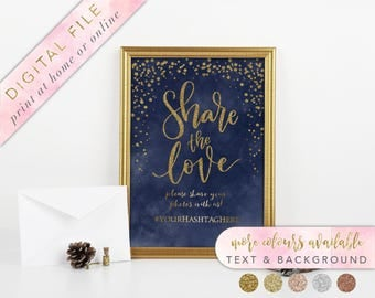 Share the Love Sign, Printable, Navy and Gold, Wedding Instagram Sign, Share the Love, Photo Booth Sign, Instagram Sign, Wedding Hashtag