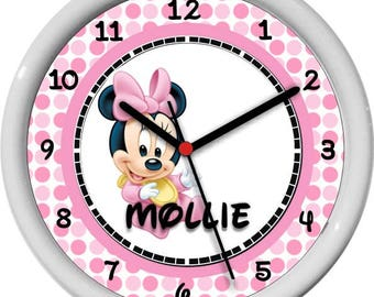 "Baby Minnie Mouse Personalized 10"" Nursery / Children Wall Clock Pink Polka Dots Shower Gift"