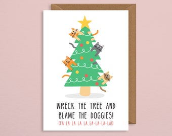 Cat christmas card.christmas card cat.funny christmas card.christmas card pack.greeting card.gift.cat card.card for girlfriend.cat lady.art