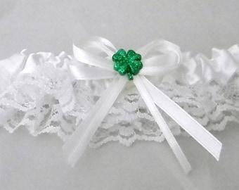 Wedding Reception Ceremony Party  4 Leaf Clover Good Luck Irish Garter White