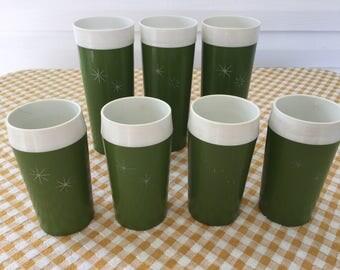 7 Gits Hi-Kool Glasses, Starburst 60s Two Tone Olive Green Plastic Thermal Tumblers with Starburst Design