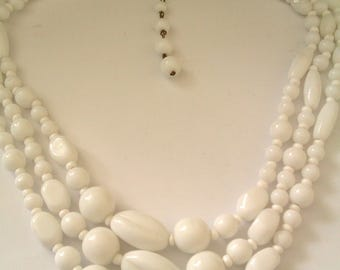 3 strand white glass bead necklace