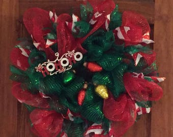 Green and Red Deco Mesh HoHoHo Christmas Wreath