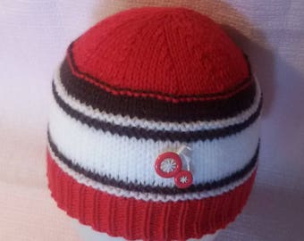Baby red, white and Navy Blue winter Beanie Hat knitted hand size 0/6 months