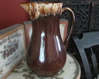 Brown Dripware Pottery Pitcher RR Co Roseville Ohio Robinson Ransbottom Potteries 9 1/2 inches