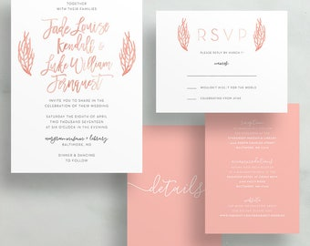 Simple Floral Watercolor Wedding Invites / Pink Coral Leaves / Hand Lettering / Semi-Custom Wedding Invitation Suite / Printed Invitations