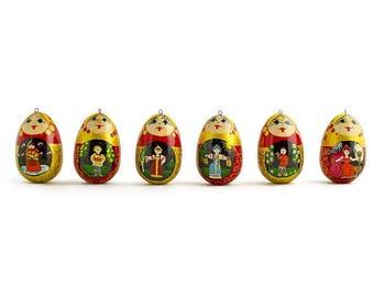 "2.25"" Set of 6 Russian Fairy Tales Wooden Matryoshka Dolls Christmas Ornaments"