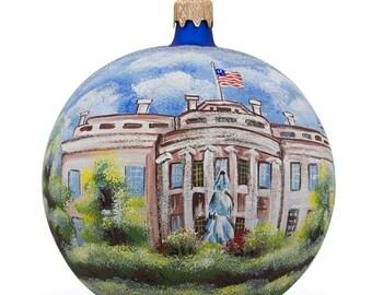 "4"" White House, Washington DC Glass Ball Christmas Ornament"