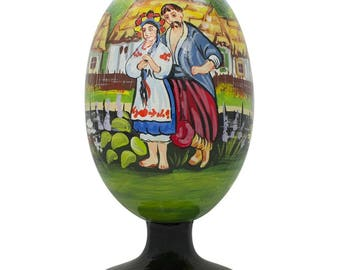 "4.75"" Ukrainian Couple in the Village Wooden Easter Egg Figurine"