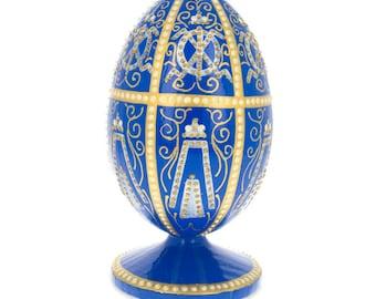 1896 Twelve Monograms Faberge Wooden Easter Egg