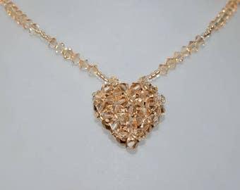 Swarovski crystal necklace golden shadow