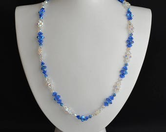 Swarovski crystal necklace sapphire ab2x and crystal ab2x long