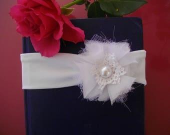 "Baby girl baptism ceremony, photos ""Shabby chic"" headband"