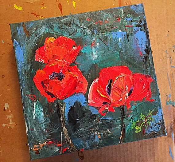 """Abstract Flowers Series - Red Poppies - 10""""x10"""", Art Original Acrylic, Palette Knife, & Brush Painting on Canvas by Jacob Secrest"""