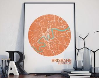 Brisbane, Australia City Map Print