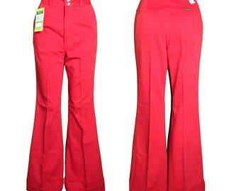 """DEADSTOCK NWT Wine Velvet WRANGLER High Waist Bell Bottom Jeans Pants Small 9/10 25-26"""" Waist/32 Inseam"""